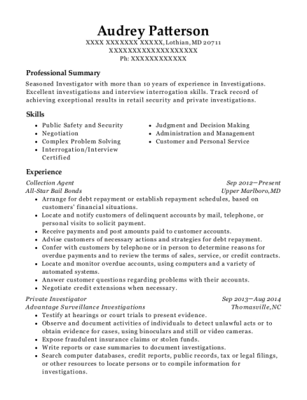 Collection Agent resume format Maryland
