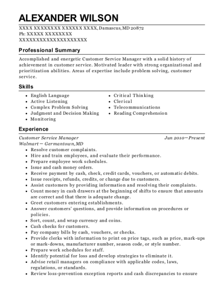 Customer Service Manager resume example Maryland