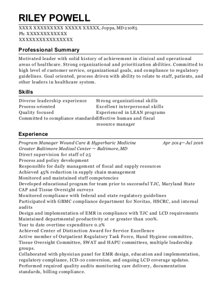 Program Manager Wound Care & Hyperbaric Medicine resume example Maryland