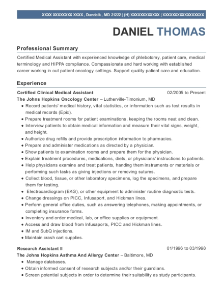 Certified Clinical Medical Assistant resume example Maryland