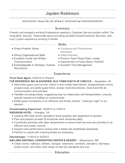 Front Desk Agent resume template Maryland