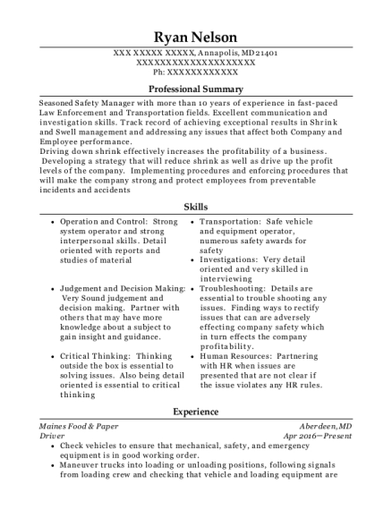 Driver resume example Maryland
