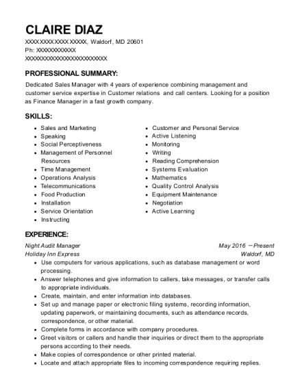 Night Audit Manager resume sample Maryland