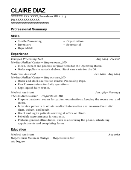 Certified Processing Tech resume template Maryland