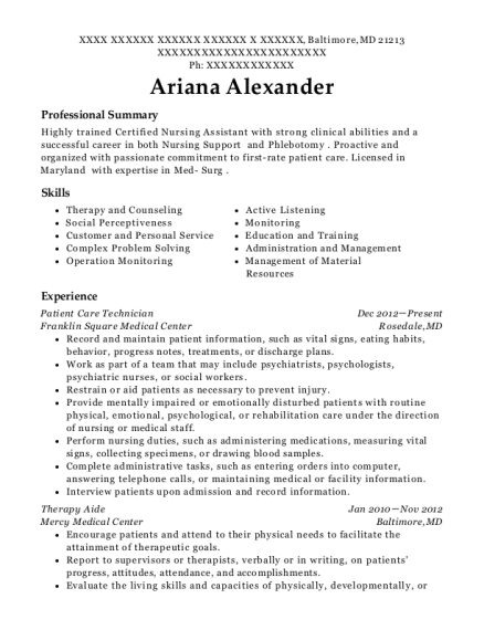 Patient Care Technician resume template Maryland