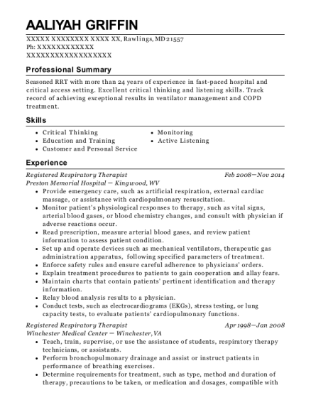 Registered Respiratory Therapist resume template Maryland
