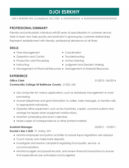 Office Clerk resume example Maryland
