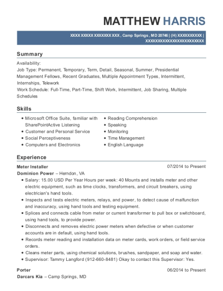 Meter Installer resume sample Maryland