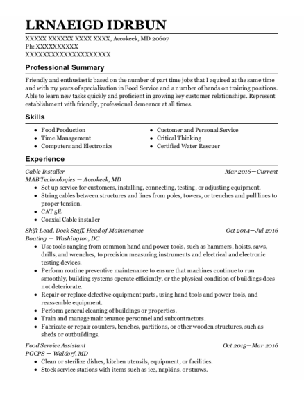 Cable Installer resume example Maryland