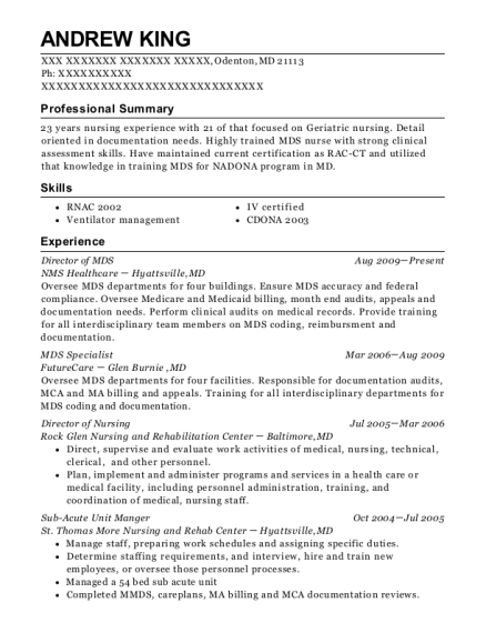 Director of MDS resume example Maryland