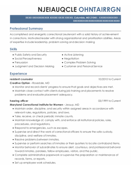 Resident Counselor resume format Maryland