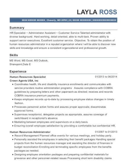 Human Resources Specialist resume template Maryland