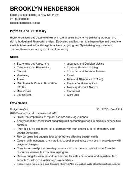 Budget Analyst resume example Maryland
