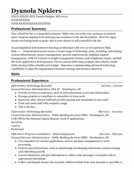 Information Technology Specialist resume example Maryland