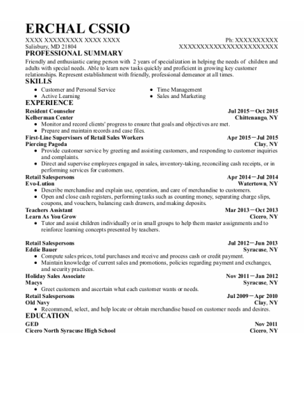 Resident Counselor resume example Maryland