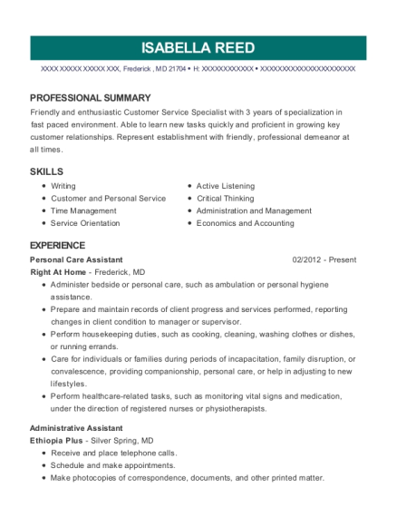Personal Care Assistant resume example Maryland