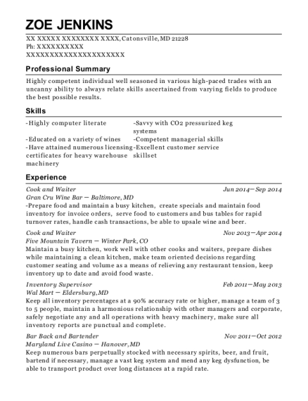 Cook and Waiter resume template Maryland