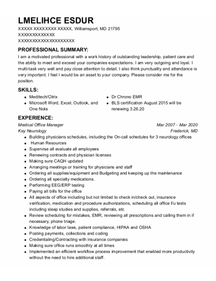 Medical Receptionist resume template Maryland