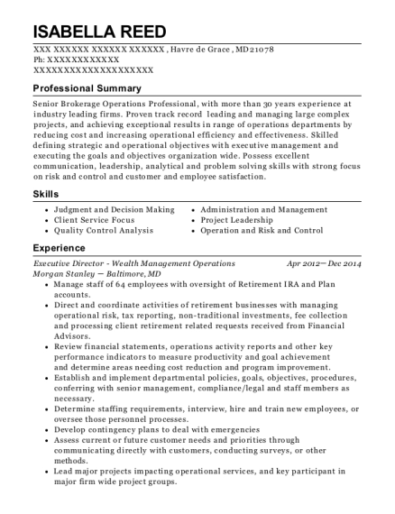Executive Director Wealth Management Operations resume template Maryland