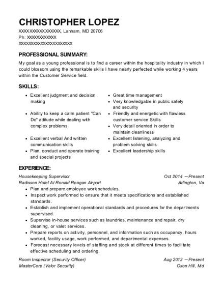 Housekeeping Supervisor resume format Maryland