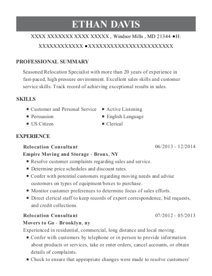 Relocation Consultant resume format Maryland