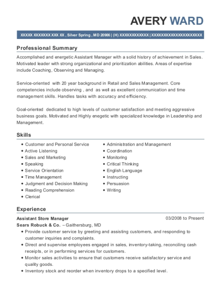 Assistant Store Manager resume example Maryland
