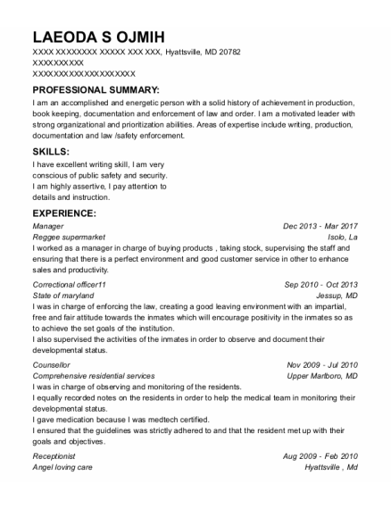 Manager resume template Maryland