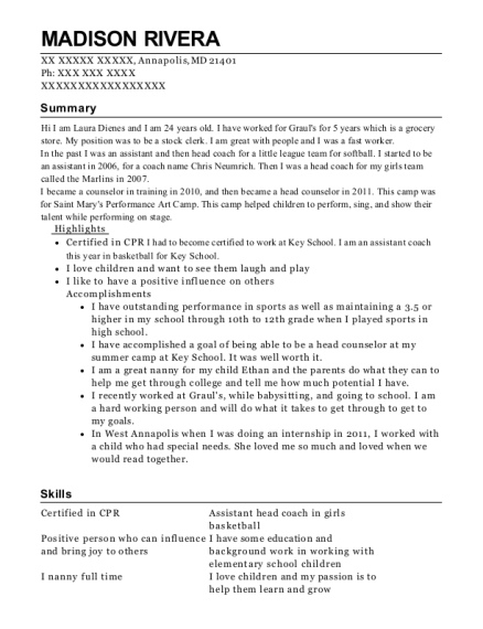 Assistant Coach resume template Maryland