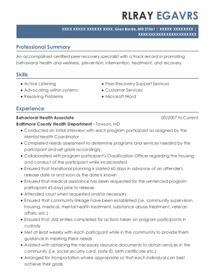 Peer Support Specialist resume example Maryland