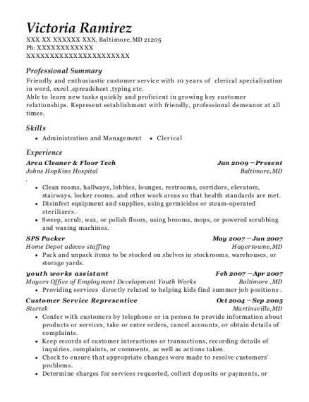 Area Cleaner & Floor Tech resume example Maryland