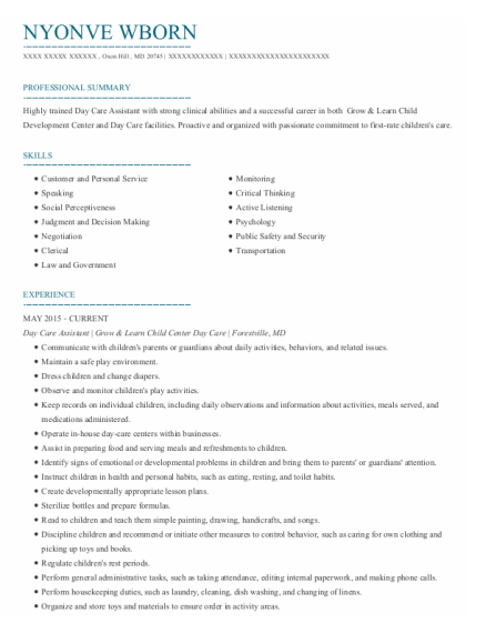 Day Care Assistant resume format Maryland