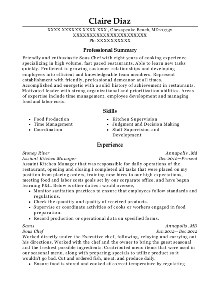 Assiant Kitchen Manager resume format Maryland