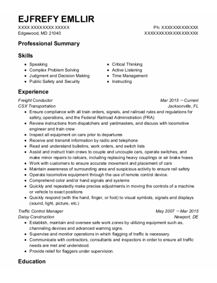 Freight Conductor resume template Maryland