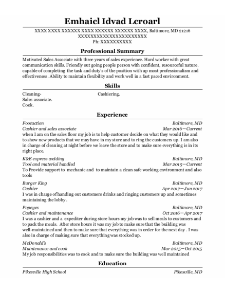 Cashier And Sales Associate resume format Maryland