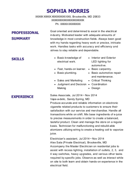 Sales Associate resume format Maryland