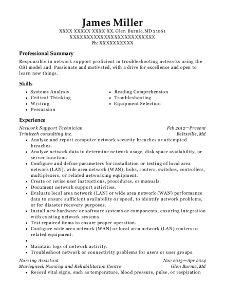 Network Support Technician resume sample Maryland