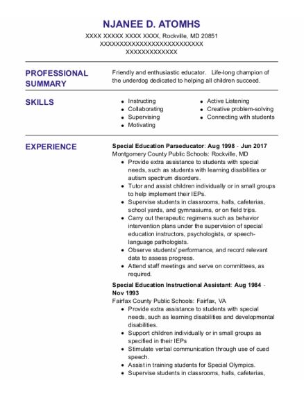 Special Education Instructional Assistant resume template Maryland