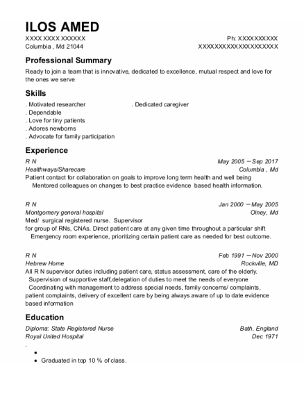 OVER NIGHT STOCK resume template Maryland