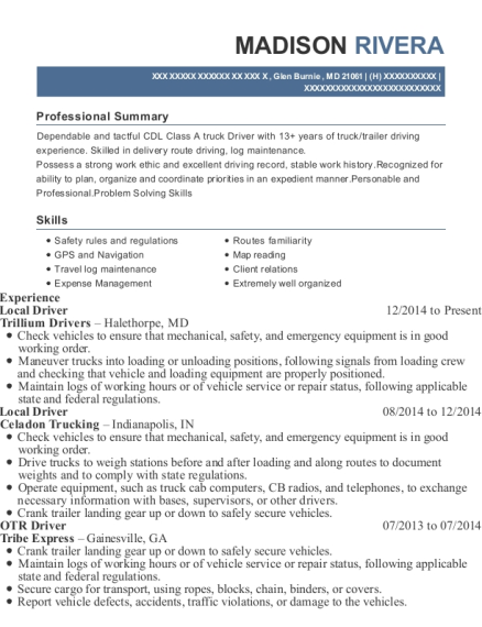 Local Driver resume format Maryland