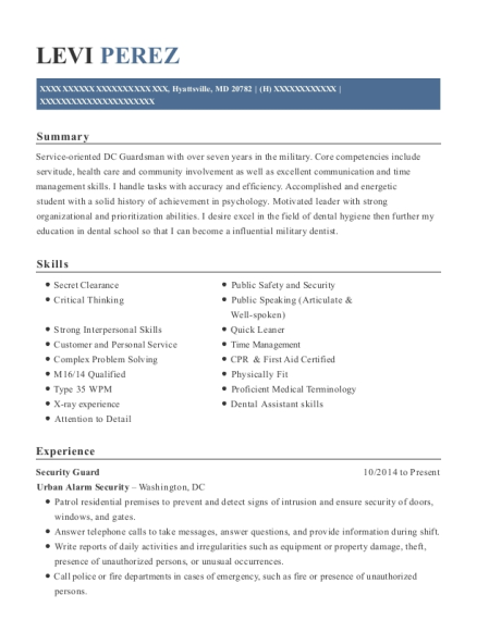 Security Guard resume sample Maryland
