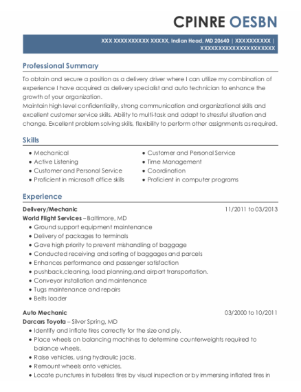 Delivery resume template Maryland