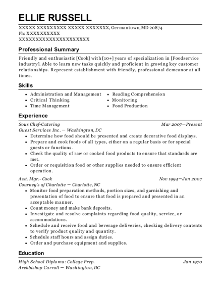 Sous Chef Catering resume example Maryland
