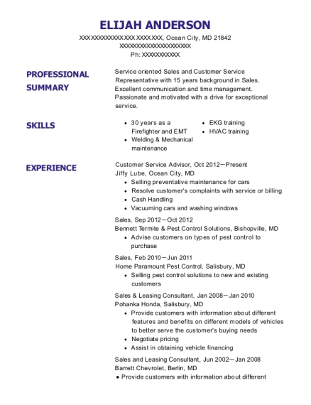 Customer Service Advisor resume example Maryland