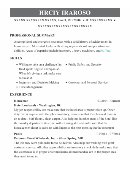 Houseman resume sample Maryland