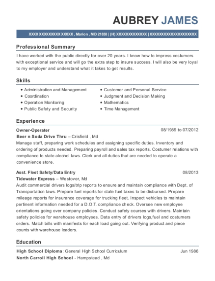 Owner Operater resume format Maryland