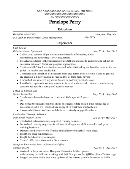 Reimbursement Specialist resume template Maryland