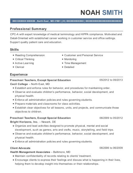 Preschool Teachers resume template Maryland