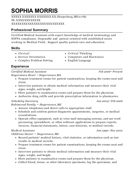 Certified Medical Assistant resume example Maryland