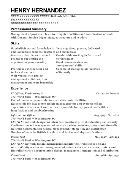 IT Officer resume format Maryland