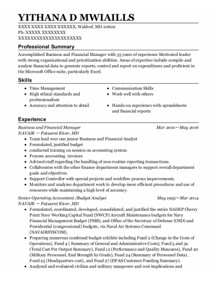 Budget Analyst resume template Maryland